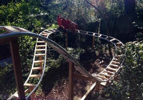 Man builds backyard Roller Coaster